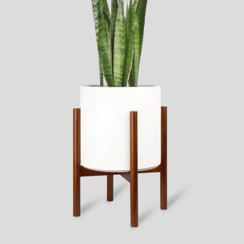 Large White Plant Pot Modern Planter Indoor Flower Pot With Wood Stand Indoor Flower Pots Modern Planters Indoor Large Plant Pots
