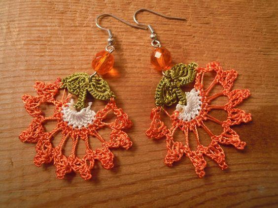 crochet earrings orange flower dangle by PashaBodrum on Etsy