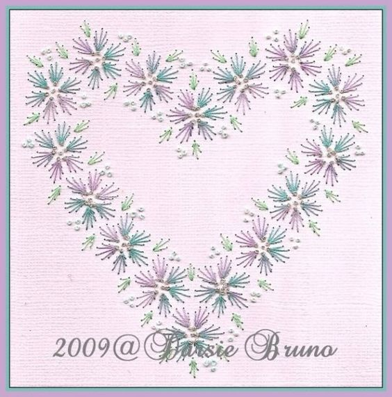 Floral Heart Wedding Valentine Paper Embroidery Pattern for Greeting Cards
