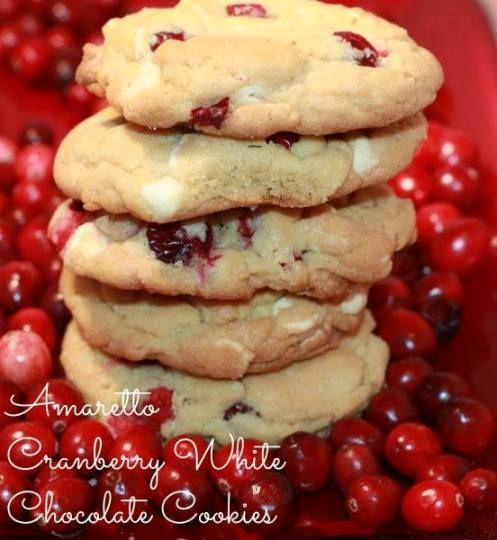 Amaretto Cranberry White Chocolate Cookies #cookiesrecipe