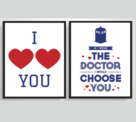 2 x printable doctor who valentines cards typography by