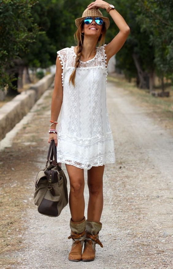 Lace Boho White Dress and Cute Brown Boots Freedom Feeling this Summer.: