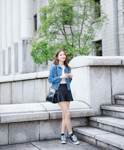 Korean Daily Fashion- Date Look ♥ Long white sleeve blouse Flower strap dress White graphic t-shirt Blue skinny...: