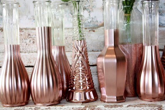 Rose Gold vases, gold wedding decor,  Set of 12 rose gold dipped vases and, gold painted vase, rose gold wedding table decor by thepaisleymoon on Etsy https://www.etsy.com/listing/265595212/rose-gold-vases-gold-wedding-decor-set: