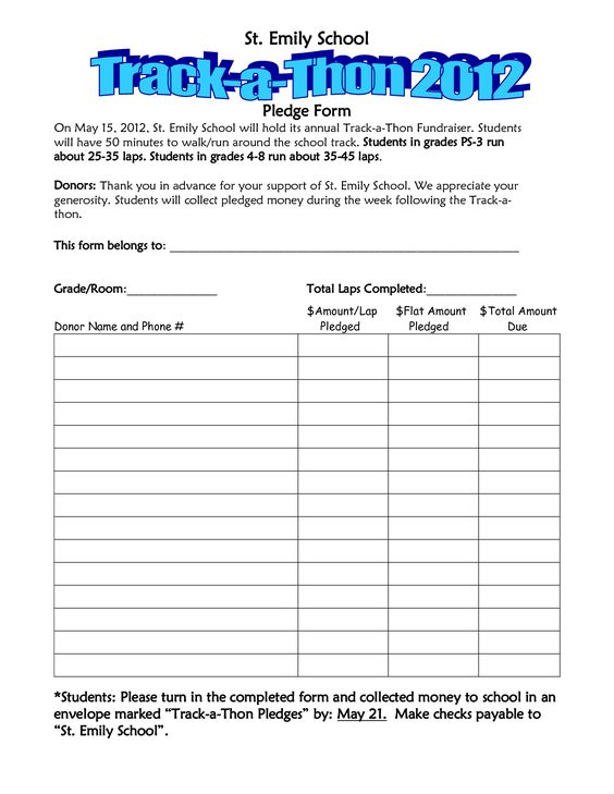School walk a thon pledge track a thon pledge form for Sample runbook template