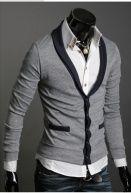V-neck Design Fashion Cardigan Light Grey $10.99