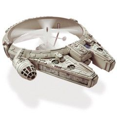 Remote Controlled Millennium Falcon: Flies forwards, backwards and sideways from up to 30' with the remote control which enables precise rotor tuning for stable, level flights. $59.95.