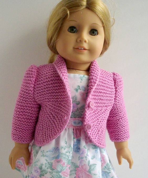 Knitting Pattern For Doll Sweater : American Girl doll 18 inch Gotz doll Knitting Pattern Jacket Cardigan Sweater...