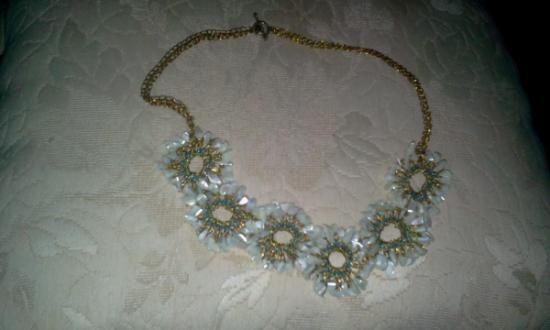 maxi colar - croche fio de cobre - madreperola  fio de cobre esmaltado,madreperola,miçangas azul croche