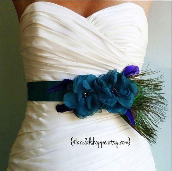 Peacock wedding dresses wedding dress sashes and peacock for Peacock wedding dress sash