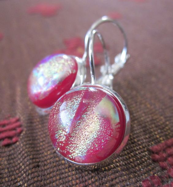 Handmade dichroic glass earrings, red and silver