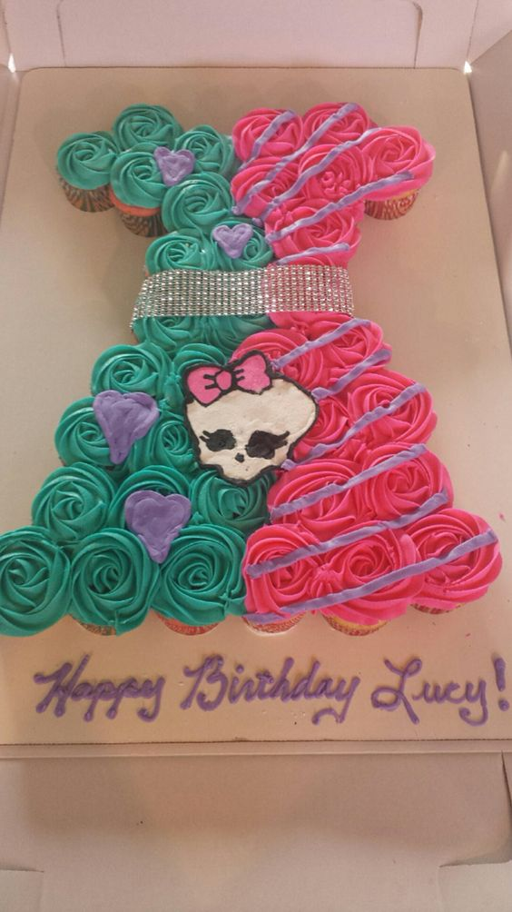 Monster High Cupcake Cake with Skullette in the shape of a dress. Amazing Cupcakes and More, OH.