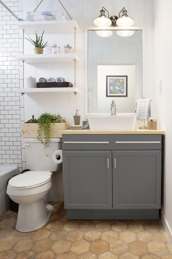 Small batrom design ideas: bathroom storage over toilet | www.littlepieceof...
