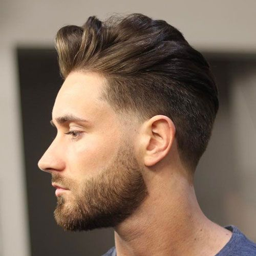 Low Taper Fade + Thick Quiff + Beard