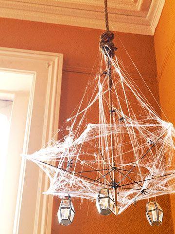 halloween chandelier made from a broken umbrella