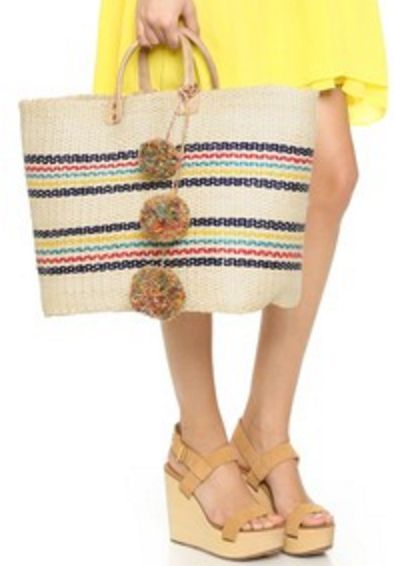 Rafia Beach Tote with Pom Poms