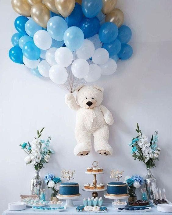 Such A Cute Idea Baby Shower Wall Decor Teddy Bear Baby Shower Decorations Baby Shower Balloons