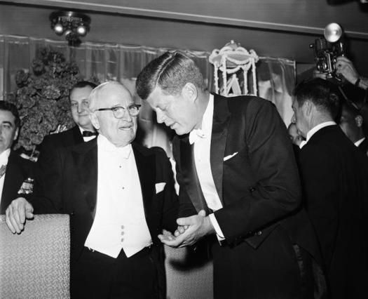 Jan.20, 1961 .. John F. Kennedy listens to and takes time to talk with former President Harry Truman
