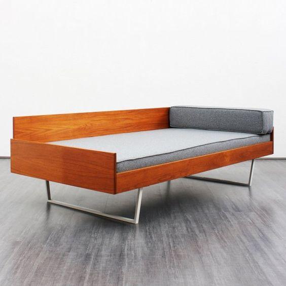 60er jahre daybed teakholz grau neu bezogen nr 4724. Black Bedroom Furniture Sets. Home Design Ideas