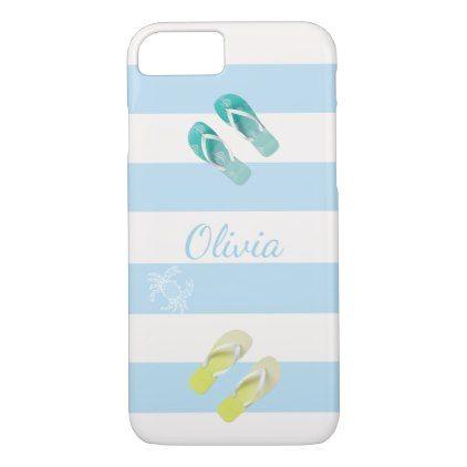 #stripes - #Flip flops on white pastel blue stripes add name iPhone 7 case