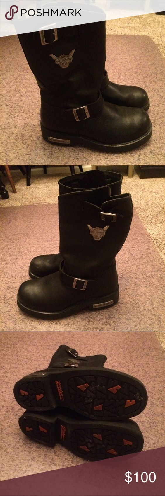 Men's Harley Davidson boots. Men's black Harley Davidson genuine leather boots. Only worn a few times. Great condition. Minor scuffs on toe area. Harley-Davidson Shoes Boots
