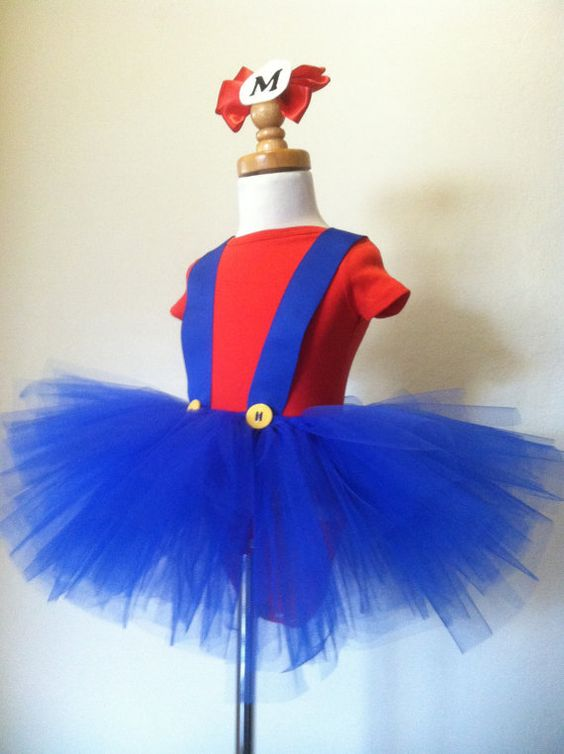 ORIGINAL Mario inspired tutu costume by Dream Come Tutu! Only $45.95 and if you have 2 girls they can go as Mario and Luigi! So fun!