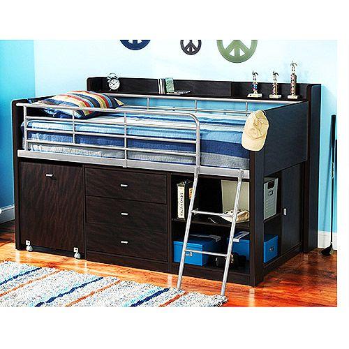 Charleston Storage Loft Bed With Desk Espresso Walmart Com Loft Bed Twin Loft Bed Kids Bedroom Furniture Sets