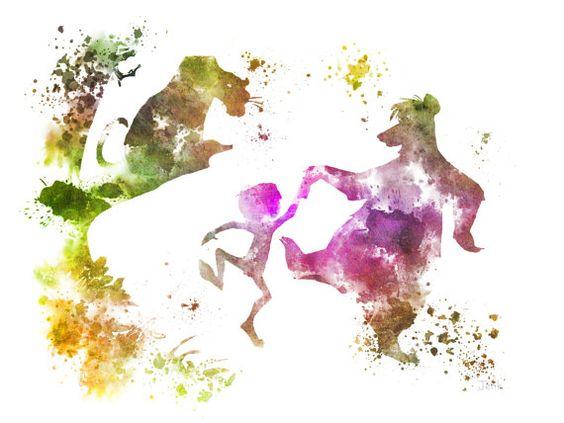 L'illustration de la Jungle Book ART PRINT, Disney, Mowgli, Baloo, Bagheera, technique mixte, Home Decor, pépinière, Kid