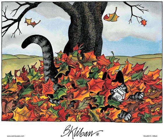 Kliban's cat meets pile of leaves: