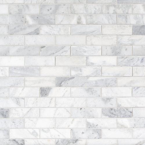 Sahara Carrara Brick Marble Mosaic Floor Decor In 2020 Marble Backsplash Kitchen Marble Bathroom Decorative Backsplash