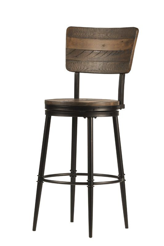 Adjustable Height Wood and Metal Bar Stool,Vintage Industrial Bar Stools,Swivel Kitchen Dining Chair Walnut Color