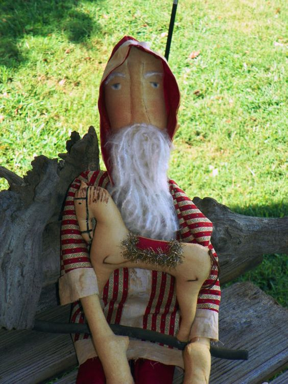 Grungy Santa with Rocking Horse by colonialprimitives on Etsy