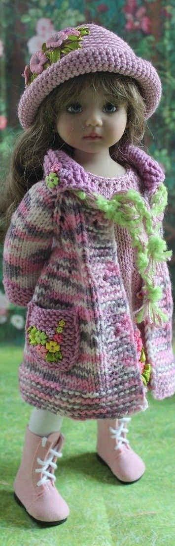 Knitted Coat and Cap for Little Darling Effner: