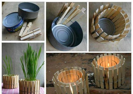 Nantucket Home, Inc. | Simple Upcycled DIY Ideas: Do It Yourself – Clever votive holder & pot for plant made from tuna can and clothes pins.