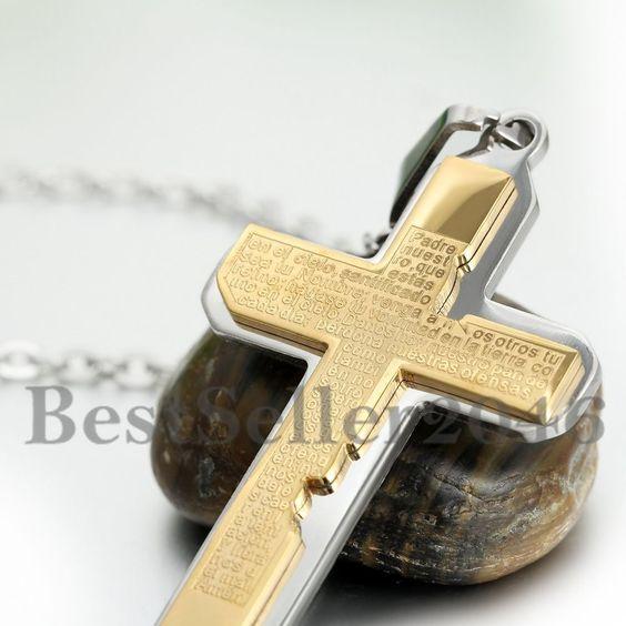 Edelstahl Herren Anhänger Halskette Silber Gold Kruzifix Kreuz Bibel Herr Gebet