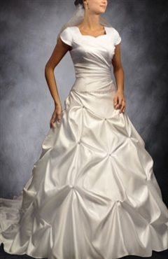 A-line Sweetheart Ivory Chapel Train Short Sleeve Wedding Gowns - Wedding Gowns - OuterInner.com