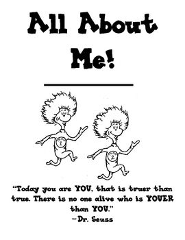 This is a Kindergarten (or first grade) all about me book. I've used Dr. Seuss clipart since I'll be basing my classroom themes/decor around Dr. Se...