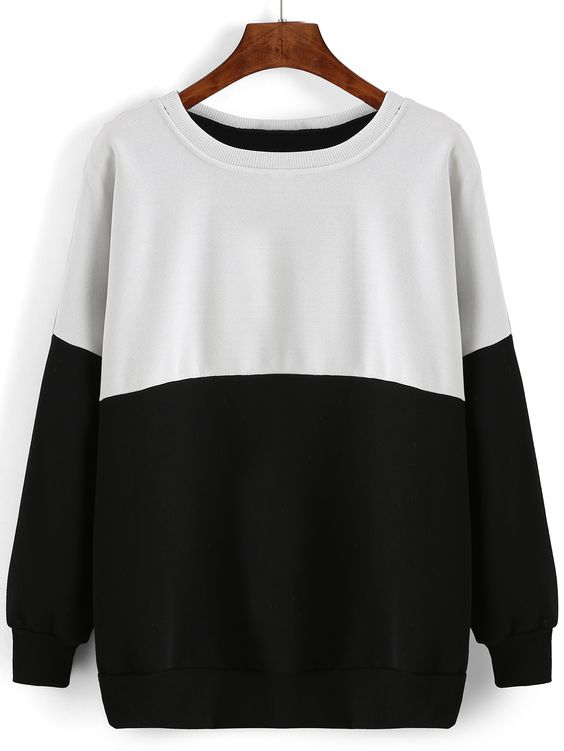 Stylish Colour-block Round Neck Loose Sweatshirt from shein For Women 2015/2016