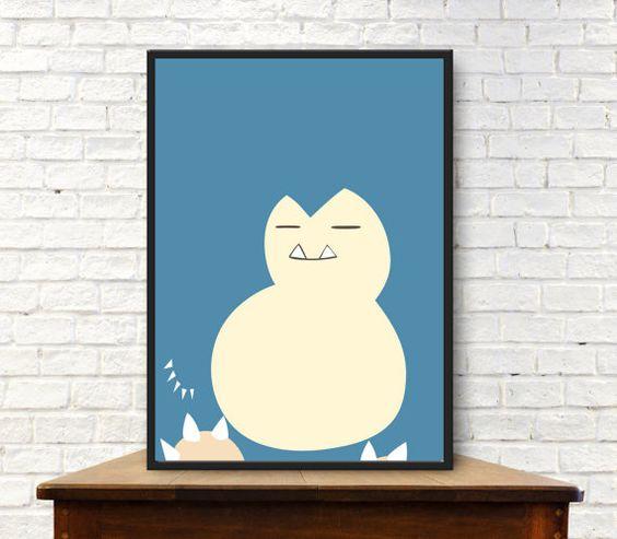 Snorlax Minimalist Poster Pokemon Poster Pokemon Go Wall Art  Snorlax Poster…