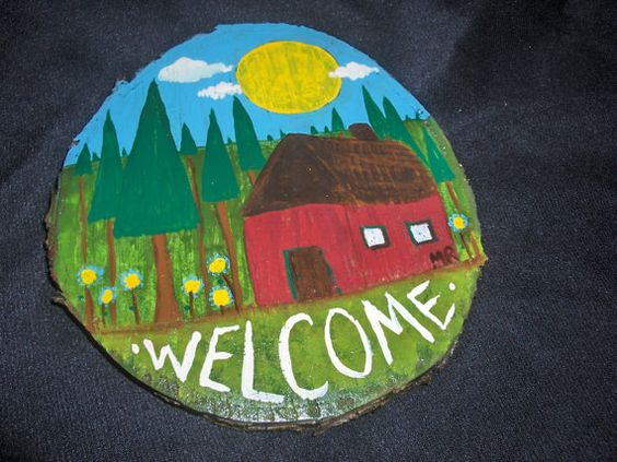 Welcome sign whimsical folk art  painting on by originalartbymicki