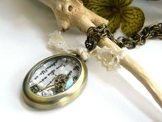Handmade Necklace Vintage Inspired Locket by BlondePeachJewelry