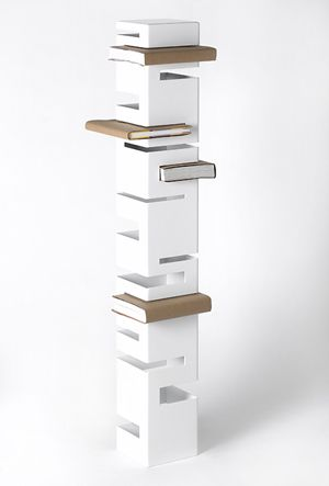 Contemporary Bookcases by Rick Ivey.  Each shelf has its own cubby-hole for book storage. This is more of a decorative piece than a unit that can store a lot of books should you have a large collection. The effect creates a cool visual to draw the attention of guests in the home.
