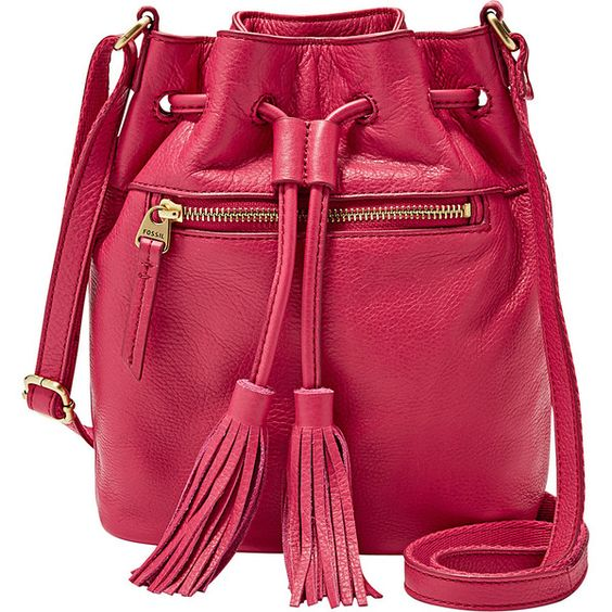 Fossil Jules Mini Drawstring with Tassle Shoulder Bag ($138) ❤ liked on Polyvore featuring bags, handbags, shoulder bags, leather handbags, pink, fossil purses, red leather purse, red shoulder bag, handbags & purses ve red leather shoulder bag