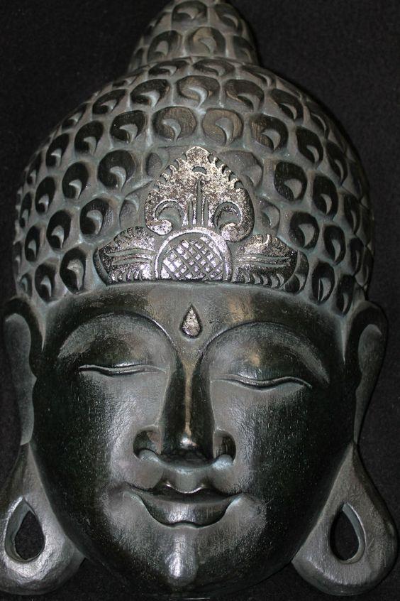Bali zen buddha mask virdigris green hand carved wood