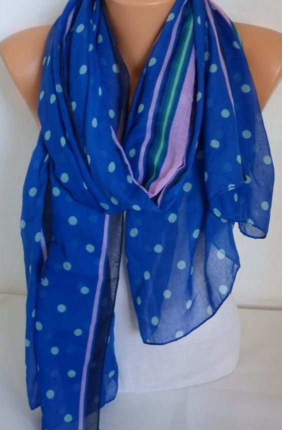 Royal Blue & Pink Scarf Shawl Gift Ideas for Her Women by fatwoman