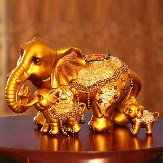 Iee diamante ofício da resina elefante estatueta artesanato casa acessórios de decoração elefante dourado estatuetas para casa 2 peças/set