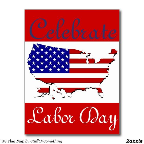 US Flag Map Labor Day Postcards (x5)