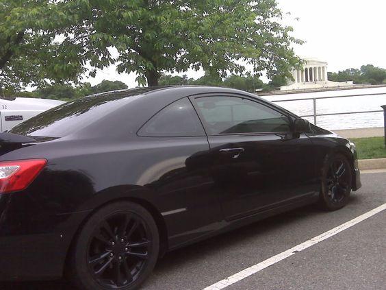 Black Wheels With A Black Civic Cars Pinterest Honda