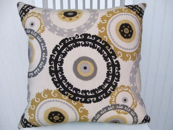 This is a great suzani design on a slubby cotton 18x18 or 20x20 or 22x22 pillow cover with black, light gray, dark grey and mustard yellow