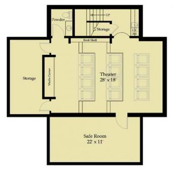 Safe room theater and home theaters on pinterest for Home theater floor plan